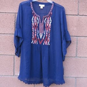 Style & Co Embroidered Sheer Top Dark Blue 1X  NWT